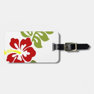 Spring Red Digital Art Hibiscus Flower Luggage Tag