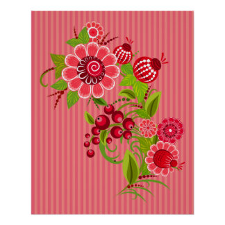 Spring Red Poppies With Stripes Print