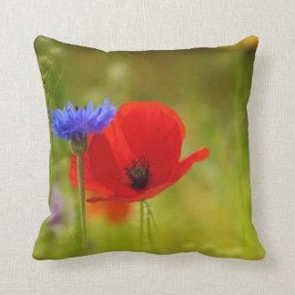 Spring Red Poppy Blue Flower Modern Pillow