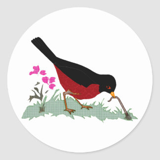 Spring Red Robin Getting a Worm Classic Round Sticker