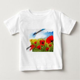 Spring-Red yellow flowers with painting tools n.jp Baby T-Shirt