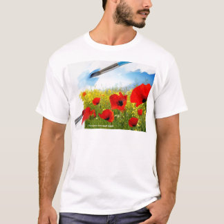 Spring-Red yellow flowers with painting tools n.jp T-Shirt