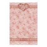 spring romance pink floral and lace heart personalised stationery