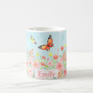 spring roses butterflies watercolor customisable coffee mug