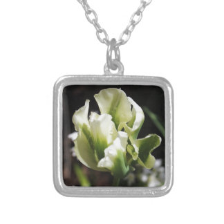 Spring Showers Tulip Garden Botanical Photography Silver Plated Necklace