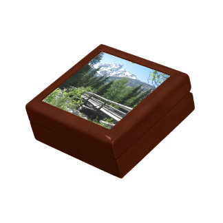 Spring Snow on Grand Tetons with Bridge over River Gift Box