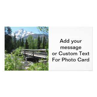 Spring Snow on Grand Tetons with Bridge over River Picture Card