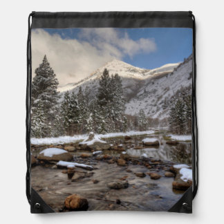 Spring snow, Sierra Nevada, CA Drawstring Bag