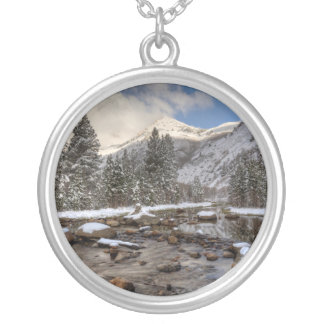 Spring snow, Sierra Nevada, CA Silver Plated Necklace