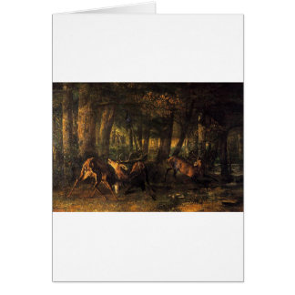 Spring, Stags Fighting by Gustave Courbet Card
