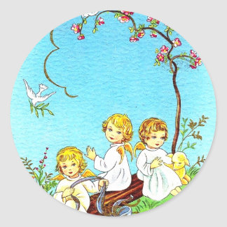 Spring stickers cherubs and lamb