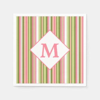 Spring Stripes Monogram Cocktail Napkin Paper Napkin