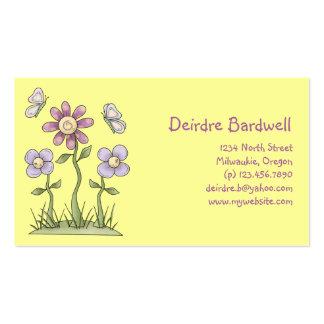 Spring Stuff · Purple Flowers & Butterflies Business Card Template