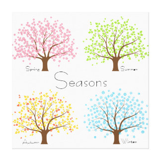 Spring Summer Autumn Winter Trees Stretched Canvas Print