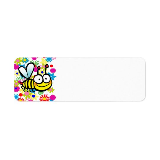 spring summer cute cartoon bee return address label
