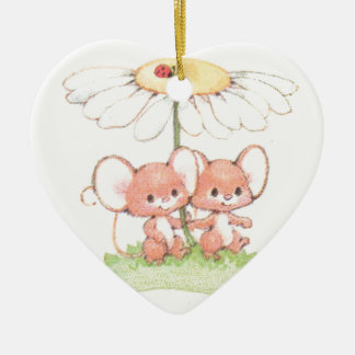 Spring Summer Love Mice Mouse Daisy Ceramic Heart Decoration