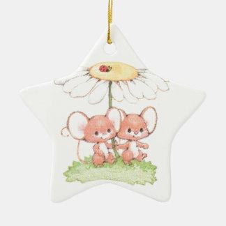 Spring Summer Love Mice Mouse Daisy Ceramic Star Decoration