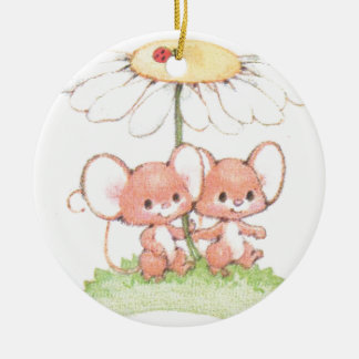 Spring Summer Love Mice Mouse Daisy Round Ceramic Decoration