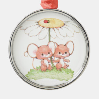 Spring Summer Love Mice Mouse Daisy Silver-Colored Round Decoration