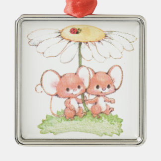 Spring Summer Love Mice Mouse Daisy Silver-Colored Square Decoration