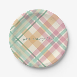 spring summer mint pastels plaid paper plate