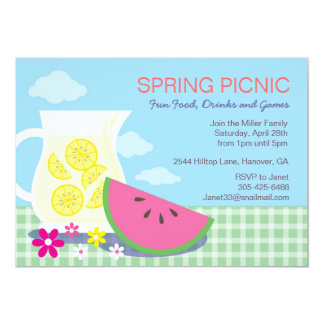Spring Summer Picnic Party Invitations