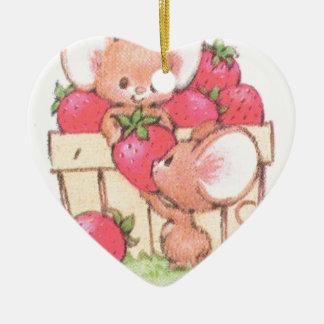 Spring Summer Strawberry Workshop Mice Ceramic Heart Decoration
