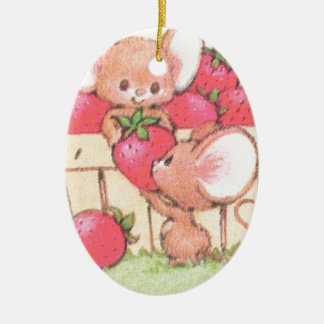 Spring Summer Strawberry Workshop Mice Ceramic Oval Decoration