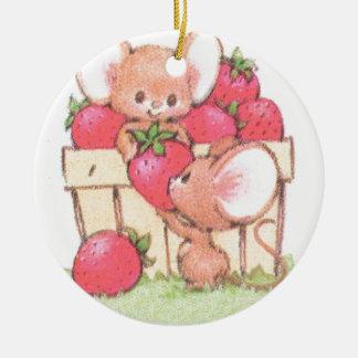 Spring Summer Strawberry Workshop Mice Round Ceramic Decoration