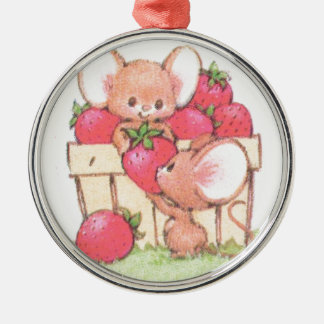 Spring Summer Strawberry Workshop Mice Silver-Colored Round Decoration