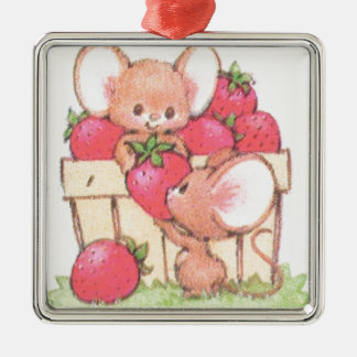 Spring Summer Strawberry Workshop Mice Silver-Colored Square Decoration