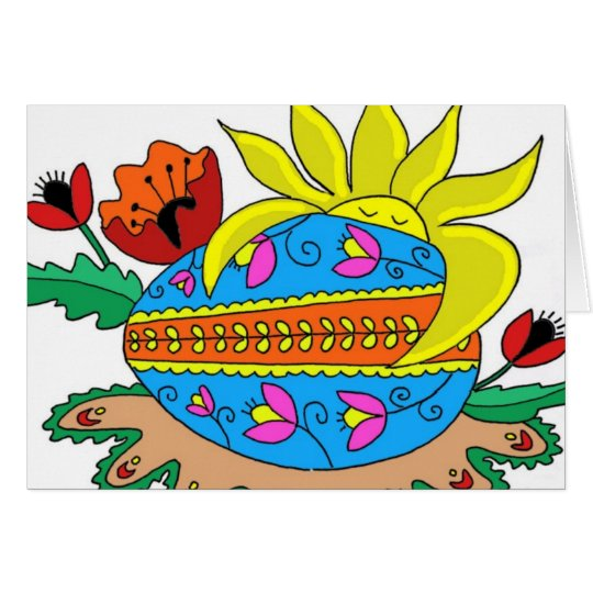 Spring Sun and Pysanka Card