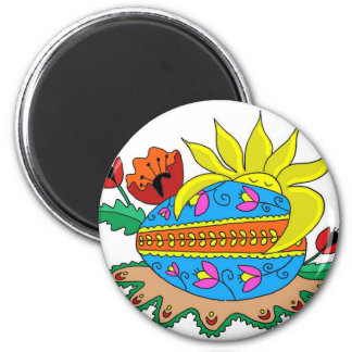 Spring Sun and Pysanka Magnet