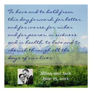 Spring Tetons WEDDING Vows Display Poster