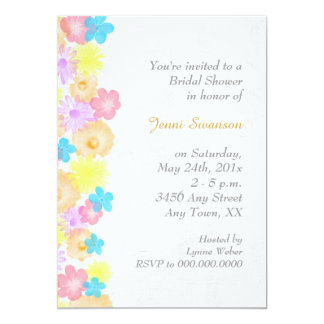 Spring Theme Flower Border Bridal Shower 13 Cm X 18 Cm Invitation Card