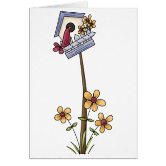 Spring Things · Birdhouse & Flowers Card