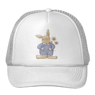 Spring Time · Easter Bunny with Flowers Mesh Hats
