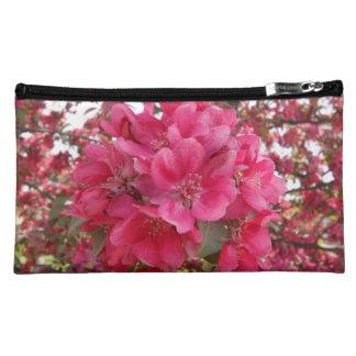 Spring Time Flower Sueded Medium Cosmetic Bag