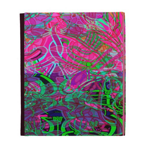 Spring time flowers in Orange, Hot Pink Lime Green iPad Folio Cover