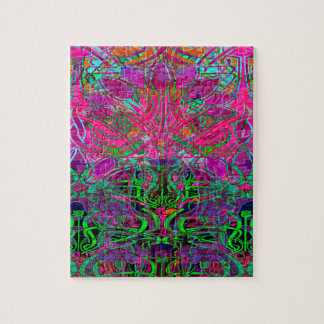 Spring time flowers in Orange, Hot Pink Lime Green Jigsaw Puzzles