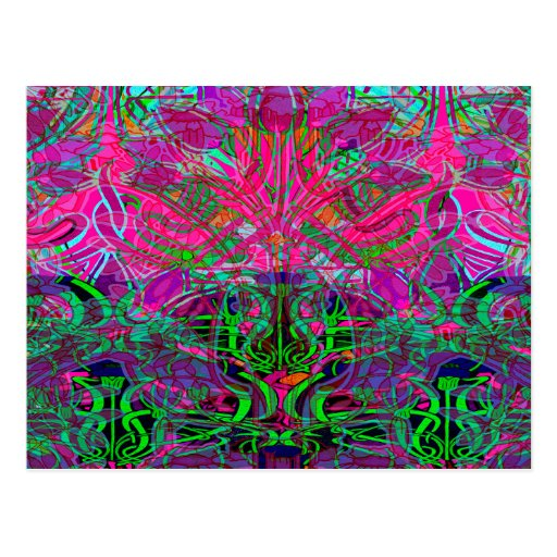 Spring time flowers in Orange, Hot Pink Lime Green Postcard