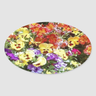 Spring Time Flowers Oval Sticker