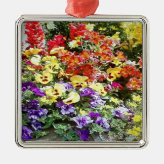 Spring Time Flowers Silver-Colored Square Decoration