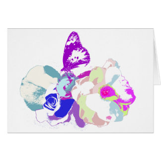 spring time flowers with butterfly in pop colors greeting card