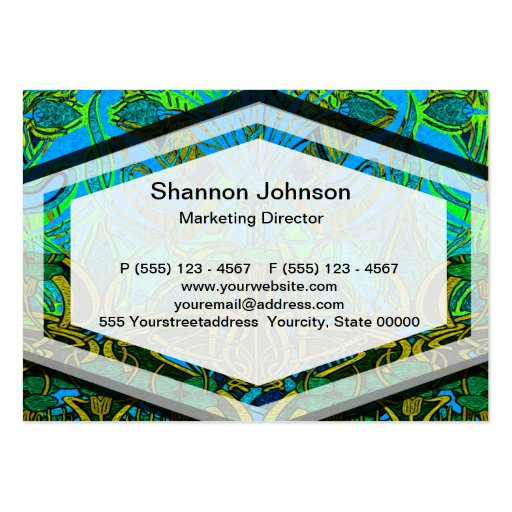 Spring time in the flower garden pattern business card templates