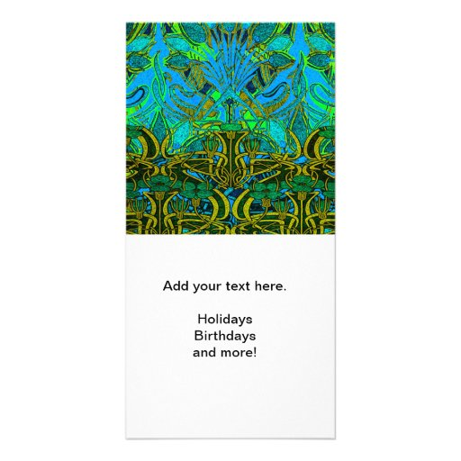 Spring time in the flower garden pattern photo card
