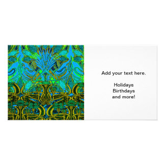Spring time in the flower garden pattern personalized photo card