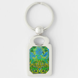 Spring time in the flower garden Silver-Colored rectangle key ring