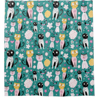 Spring Time Kitty Shower Curtain