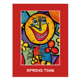 Spring Time On Red  - Time Pieces Postcard